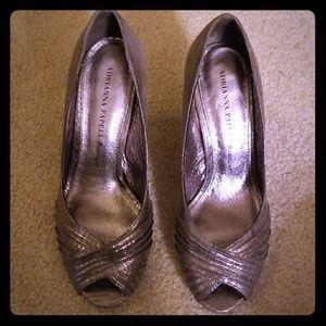 Adrianna Papell silver peep toe heels